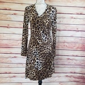Michael by MK animal print side zipper gathered dr